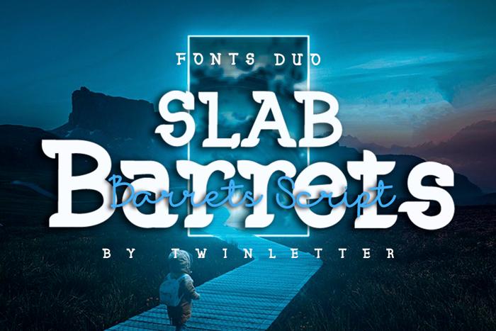 Slab Barrets Script Font poster