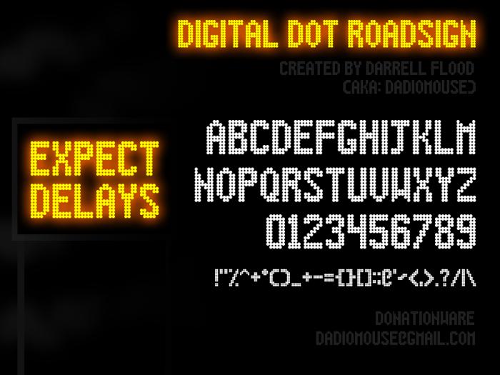 Digital Dot Roadsign Font
