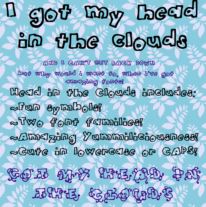 HeadintheClouds Font poster