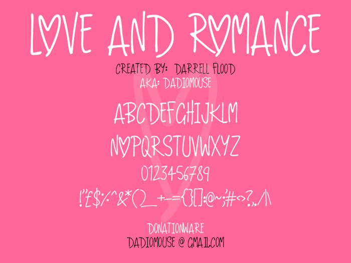 Love And Romance Font poster