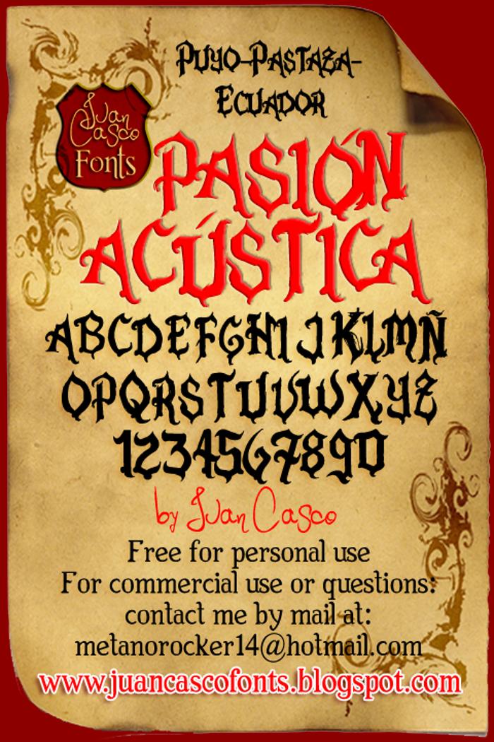 Pasión Acústica Font poster