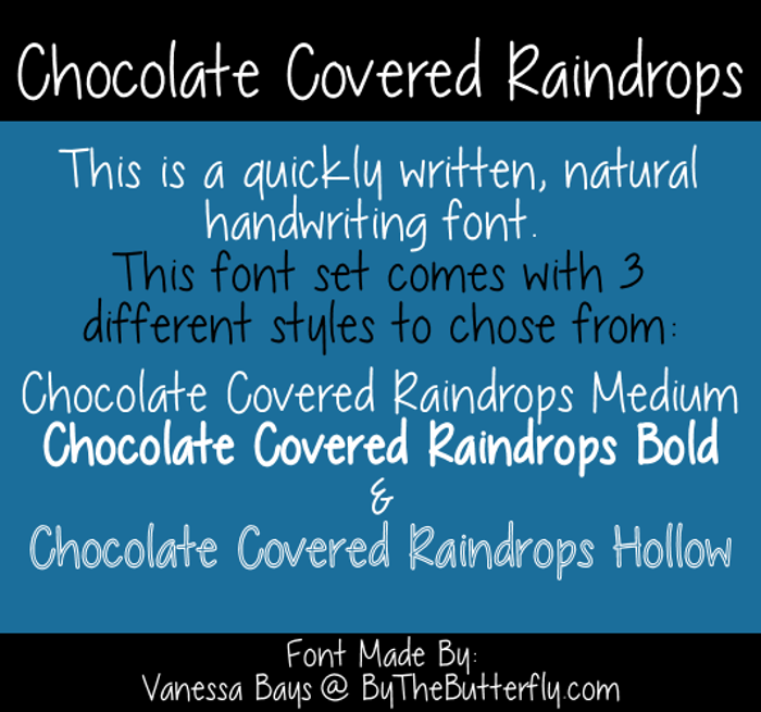 Chocolate Covered Raindrops Font poster