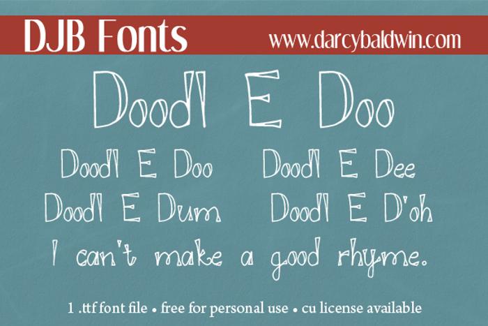 DJB DOODL E DOO Font poster