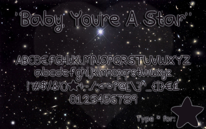 Baby, You're A Star Font poster