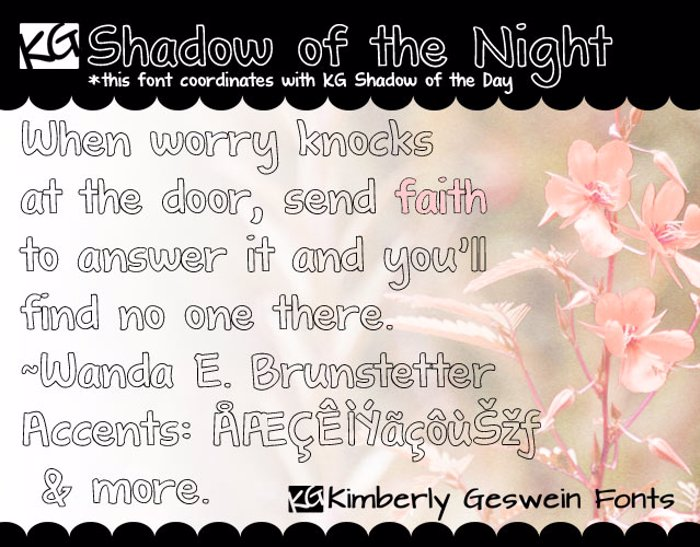 KG Shadow of the Night Font poster