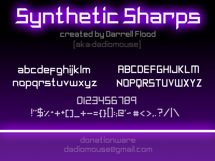 Synthetic Sharps Font poster
