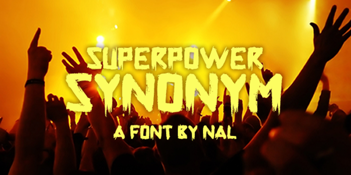 Superpower Synonym Font poster