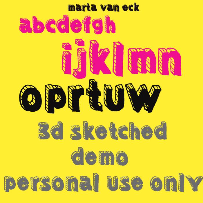 Sketched 3D Font poster