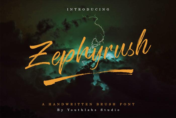 Zephyrush Font poster