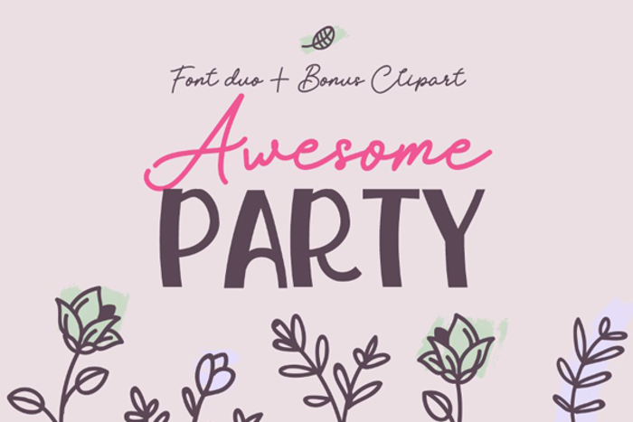 Awesome Party Script Personal U Font poster