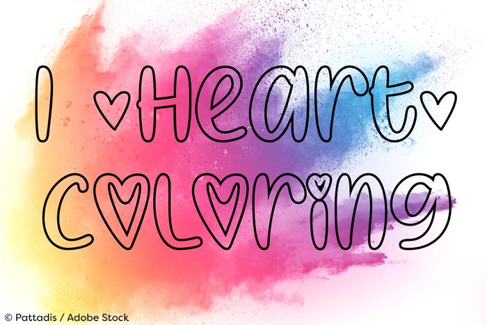 I Heart Coloring Font poster