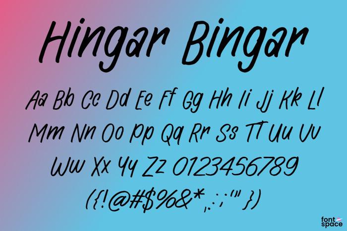 Hingar Bingar Font poster