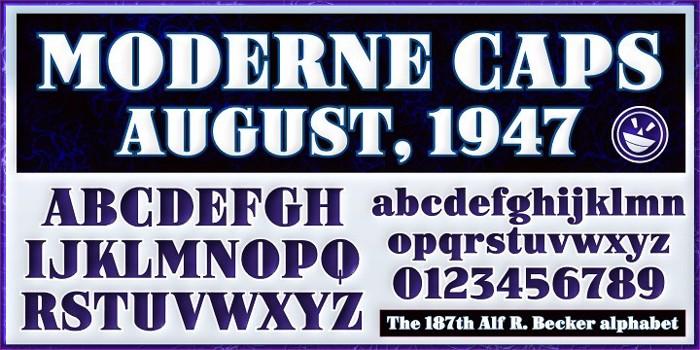 ARB-187 Moderne Caps AUG-47 CAS Font poster