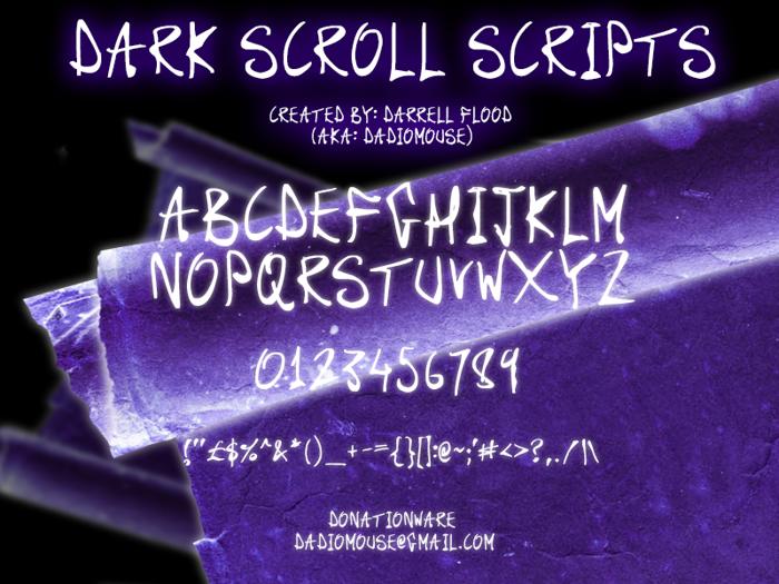 Dark Scroll Scripts Font poster