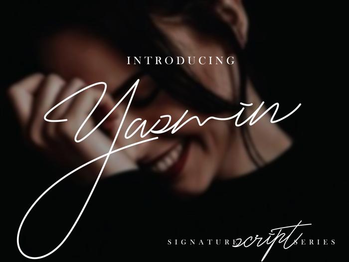 Yasmin script font poster