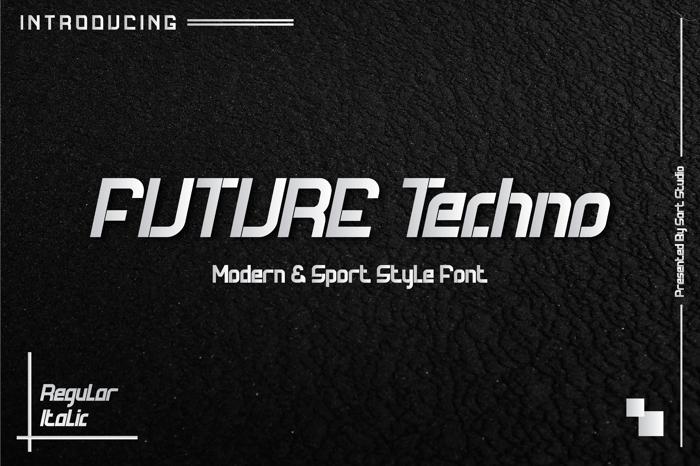 Future Techno Italic Font poster