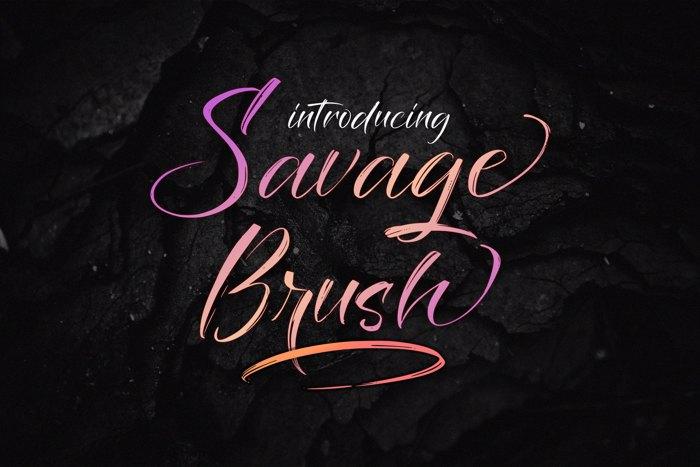 Savage Brush Font poster