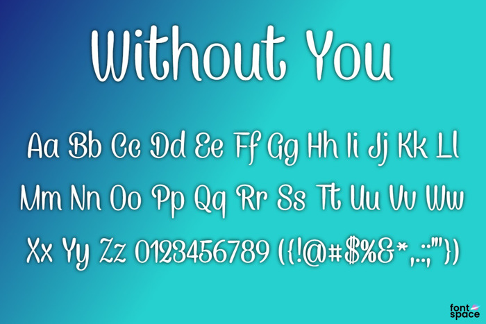 BB Without You Font poster