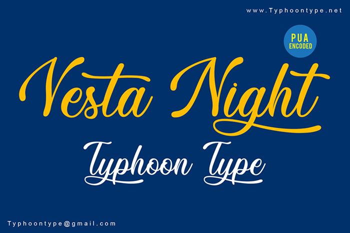 Vesta Night Font poster