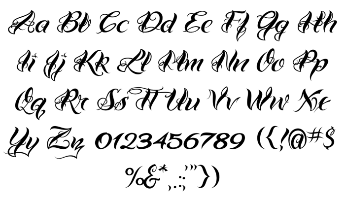VTC-Bad Tattoo Hand One Font poster