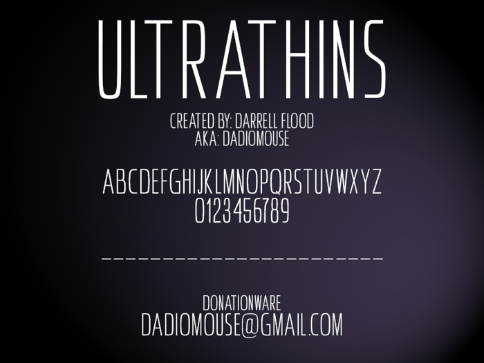 Ultrathins Font poster