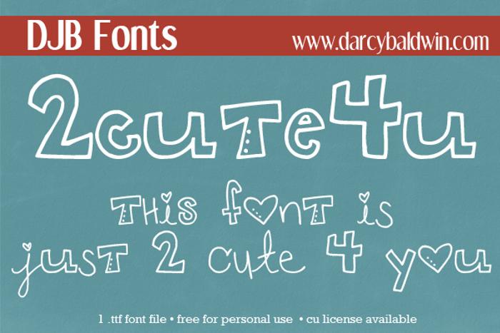 DJB 2CUTE4U Font poster