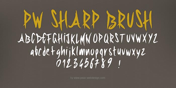 PWSharpBrush Font poster