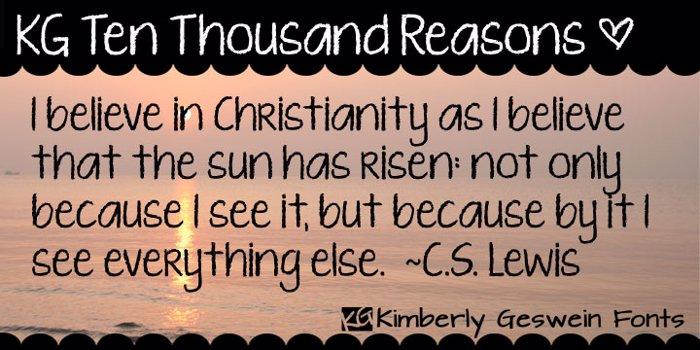 KG Ten Thousand Reasons Font poster