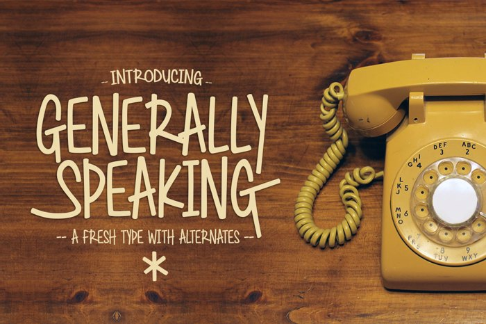 Generally Speaking Font poster