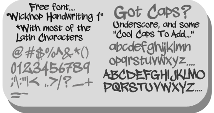 wickhop handwriting Font poster