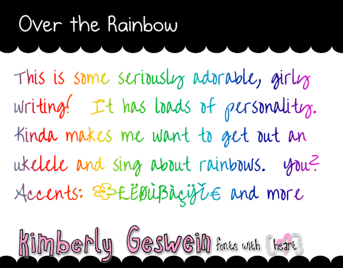 Over the Rainbow Font poster