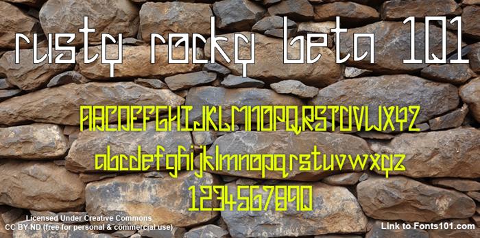 Rusty Rocky Beta 101 Font poster