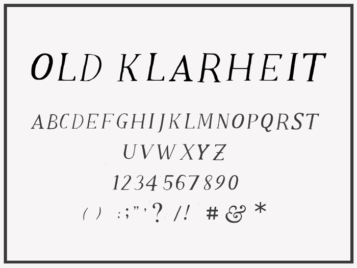 Old Klarheit Font poster