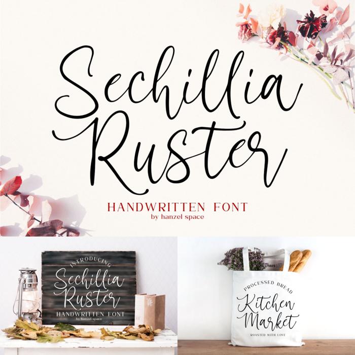 Sechillia Ruster Font poster