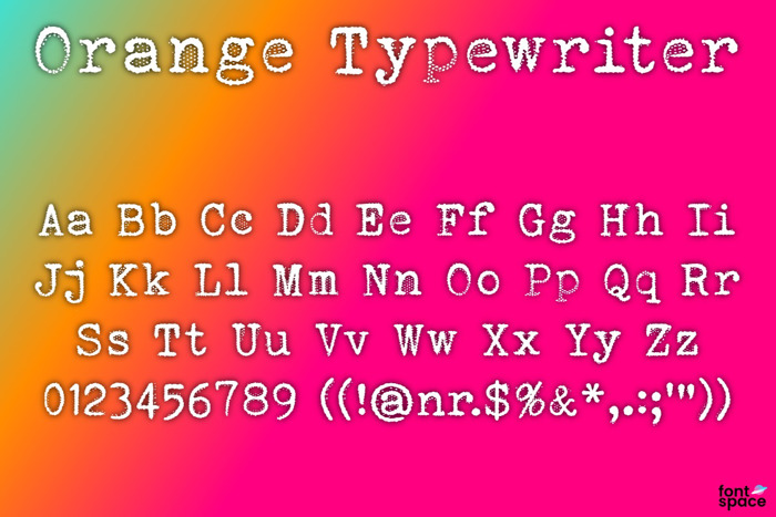 Orange Typewriter Font poster