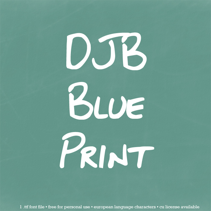 DJB BLUEPRINT Font poster