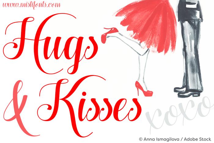 Hugs and Kisses xoxo Font poster