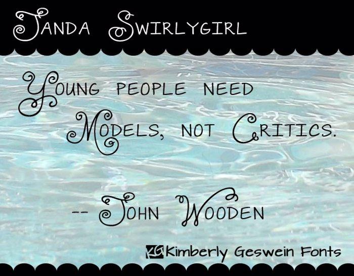 Janda Swirlygirl Font poster