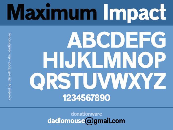 Maximum Impact Font poster