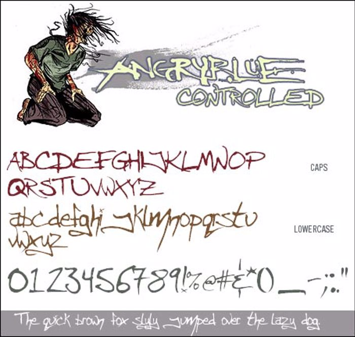 Angryblue  Controlled Font poster