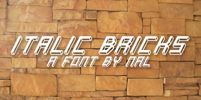 Italic Bricks Font poster