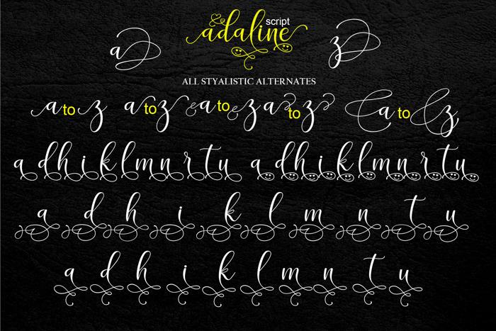 adaline script Font poster