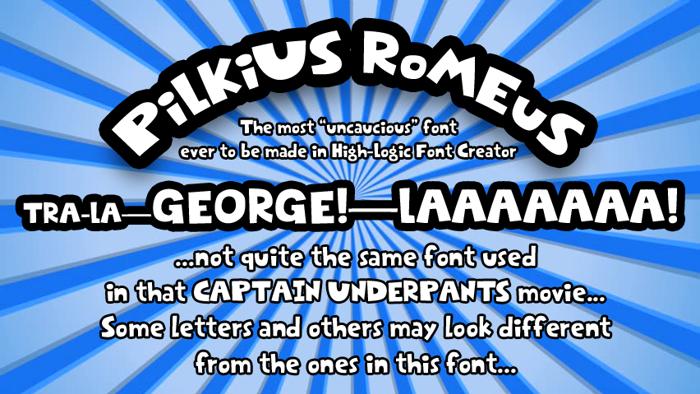 Pilkius Romeus Font poster