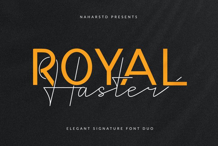 Royal Haster Monoline Font poster