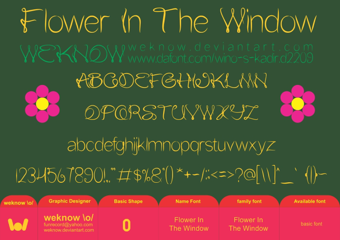 Flower In The Window Font poster