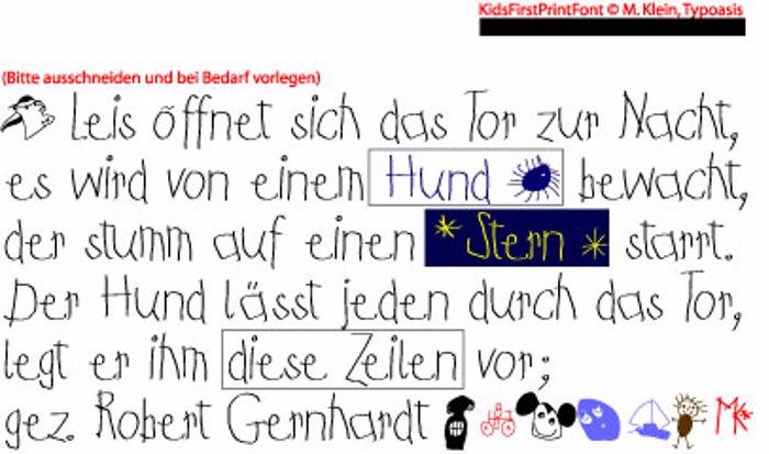 Kids First Print Font poster