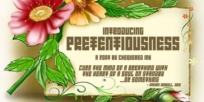 Introducing Pretentiousness Font poster