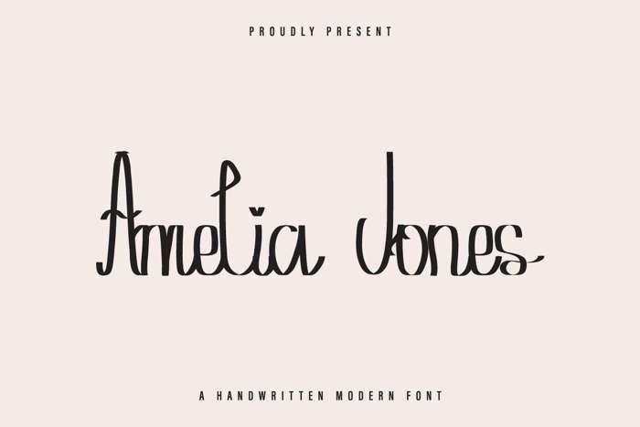Amelia Jones Font poster