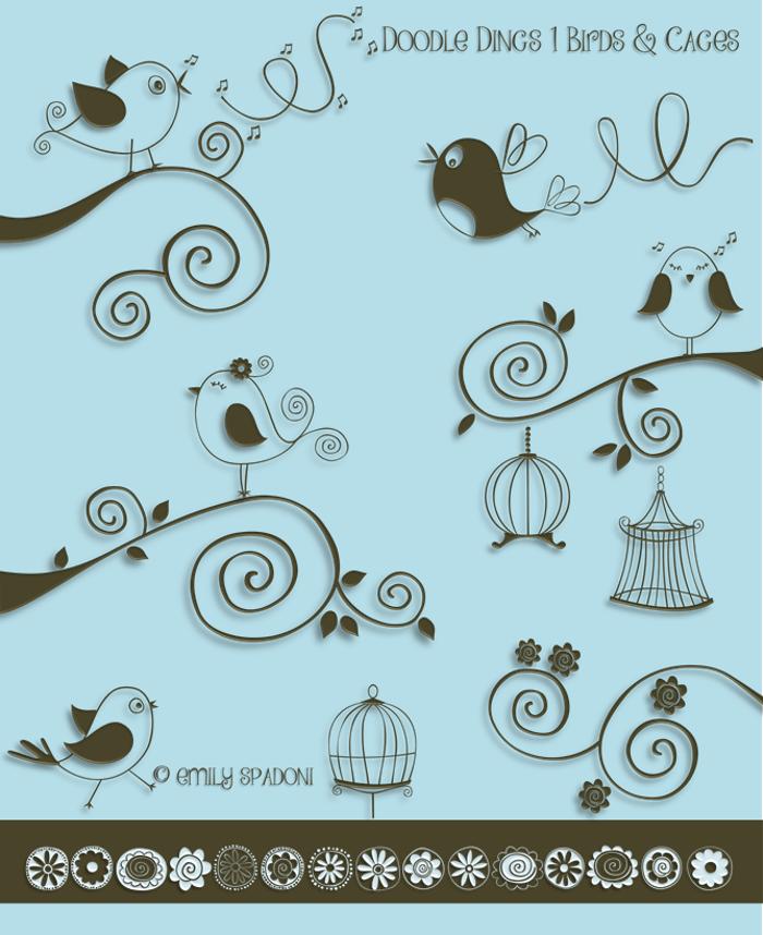 DOODLE DINGS 1 Birds Cages Font poster