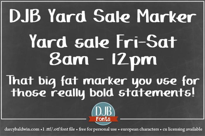 DJB Yard Sale Marker Font poster